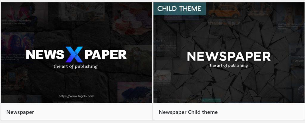 뉴스페이퍼 테마는 차일드 테마를 기본적으로 제공해준다