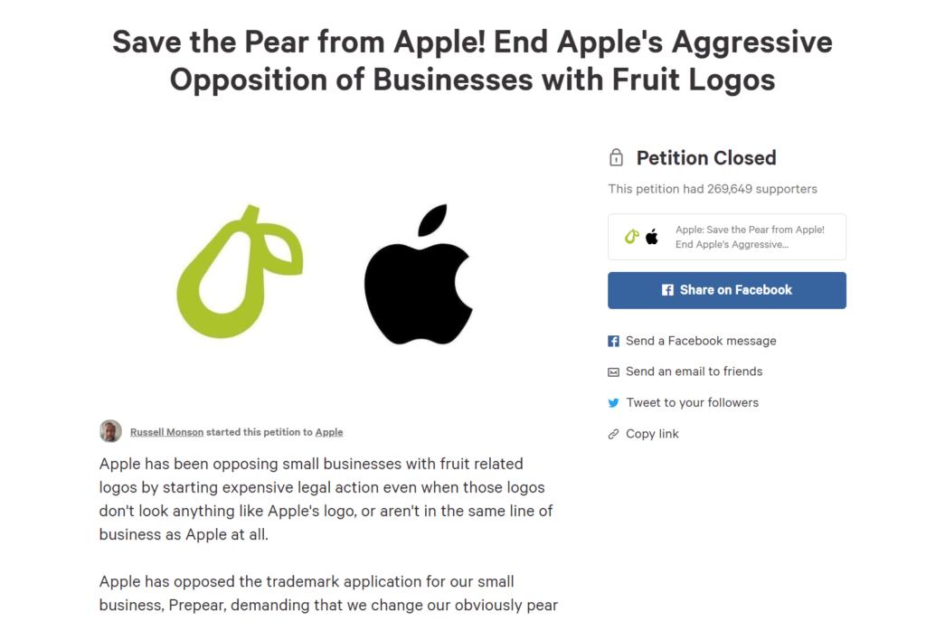 체인지 (change.org)에 Save the Pear from Apple …. 의 제목으로 청원