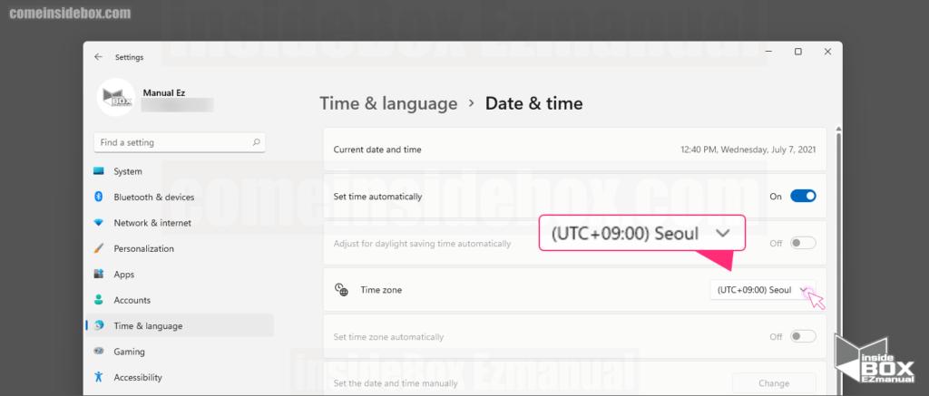 Time Language 메뉴 Date Time Seoul 선택