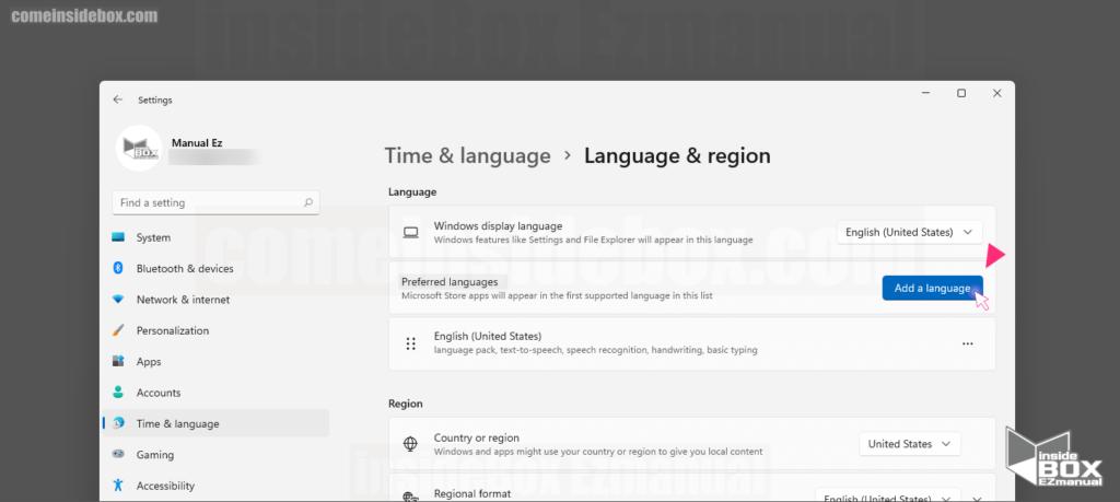 Time Language 메뉴 Language region 설정 Add a Language선택