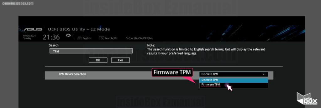 윈도우 바이오스 PCH FW Configuration 설정 Firmware TPM 선택