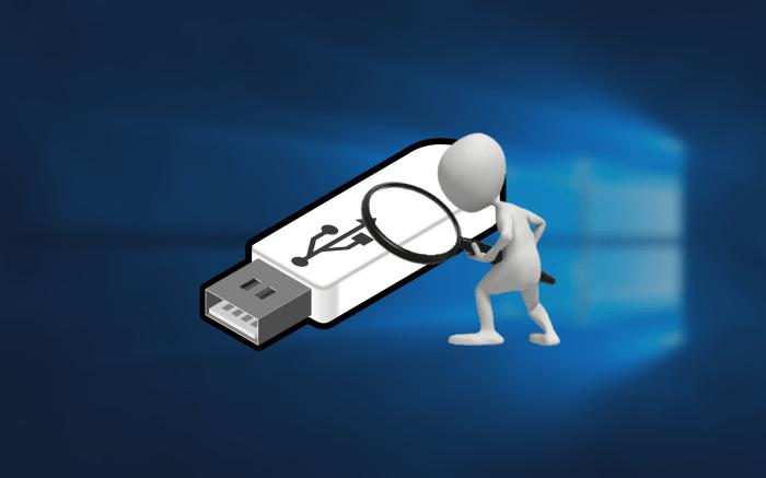 windows 배경 화면과 USB 돋보기 든 캐릭터